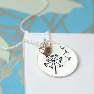 POM Silver Plated Dandelion Disc and Rose Gold Heart Necklace